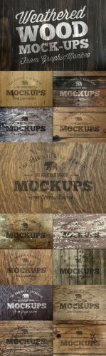 CreativeMarket - 15 Weathered Wood Texture Mock-Ups