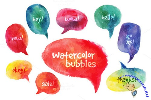 Creativemarket - Vector Watercolor Speach Bubbles 58717