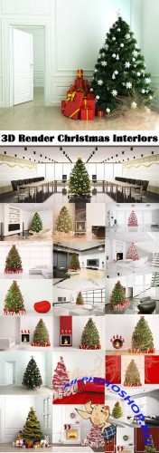 3D Render Christmas Interiors