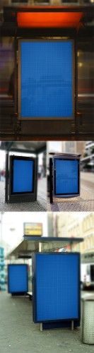 CreativeMarket - 4 Bus-stop posters MockUps 104585