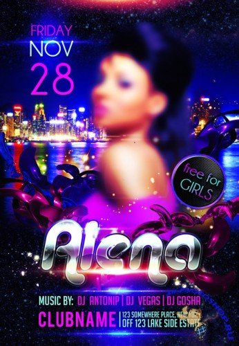 Flyer Template PSD - Guest DJ Party Alena