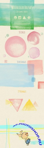 130 Simple Shapes Watercolor Brushes - CreativeMarket