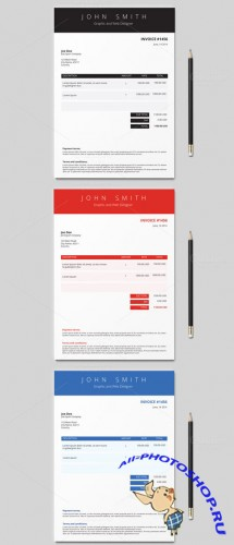 Invoice Template (3 colours) - CreativeMarket 50675