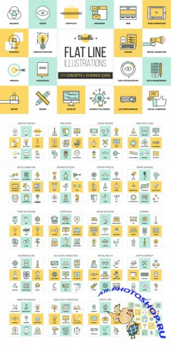 Creativemarket - Big Pack of Flat Line Illustrations 74602