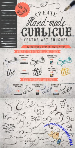Creativemarket - 18 Curlicue Brushes 101067