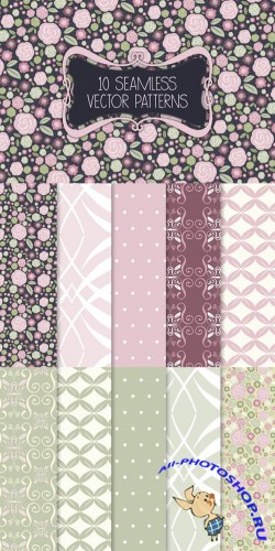 Seamless Rose and Shabby Chic Patterns