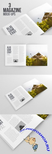 3 Magazine Mock-Up PSD Templates