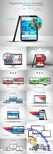 Modern Devices Mockups Vector Set