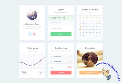 Minimal and clean take on UI Design - Creativemarket 27334