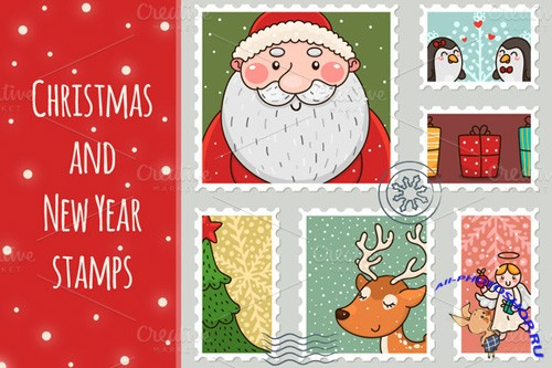 Christmas and New Year Stamps Vector Set