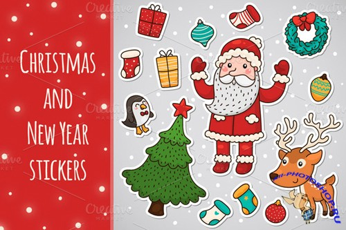 Christmas and New Year Stickers Vector Set