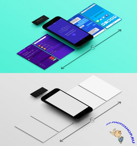 Perspective App Screens Mock-Up 8 - PSD Template