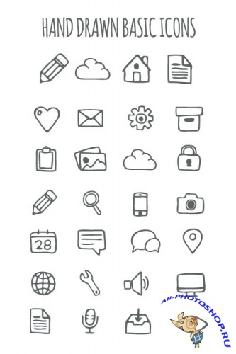 Hand Drawn Basic Icons Collection