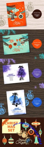 2 Christmas Cards and Clipart Vector Set