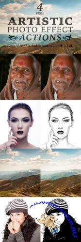4 Artistic Paint, Sketch & Ink Photo Effect Actions