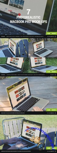 7 Photorealistic MacBook Pro Mockups - Creativemarket 57116