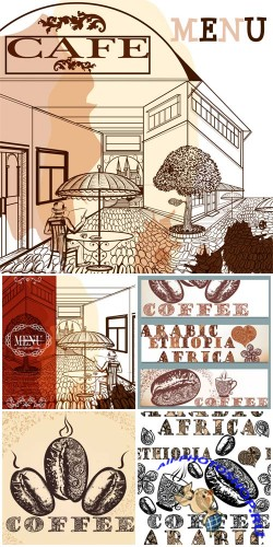 Cafe, menu, vector backgrounds with coffee