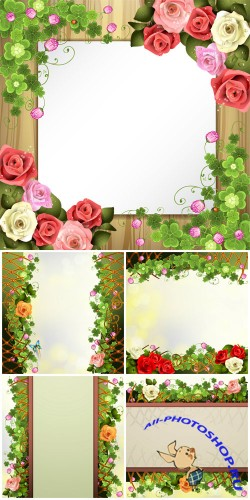Vector backgrounds with clover and roses