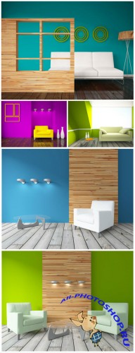 Interior in bright colors - stock photos