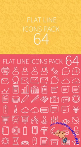 64 Flat Line Icons Pack - CM 50210
