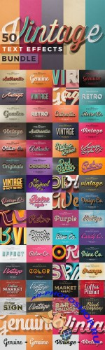 50 Vintage Text Effects Bundle - CM 200892