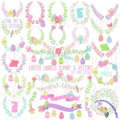 Easter Laurels Clipart and Vectors - Creativemarket 211111