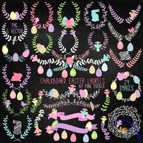 Chalk Easter Laurel Clipart Vectors - Creativemarket 211110