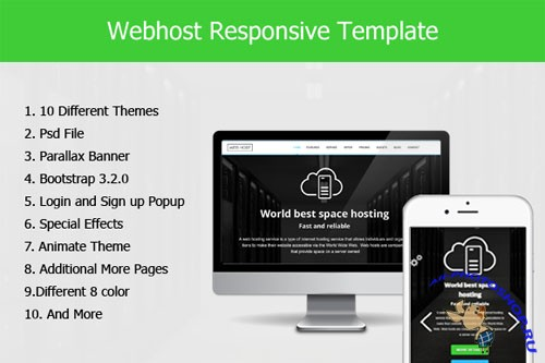 Web Host Responsive HTML5 Template - Creativemarket 203478