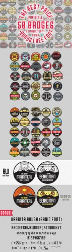 50 Pop Badges + Custom Font - CM 151312