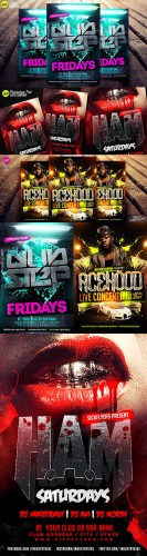 3 Concert and Disco Party Flyer PSD Templates