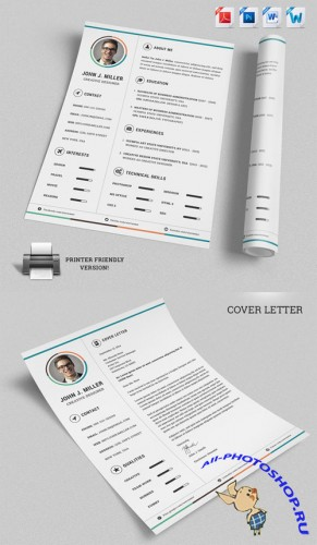 Minimal Job Resume CV Template - Creativemarket 138241