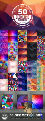 50 Geometric Backgrounds - Creativemarket 15518