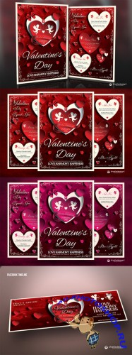 Valentines Day Flyer + Menu Template - Creativemarket 141767