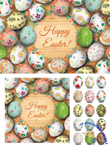Easter card and eggs - Creativemarket 209885