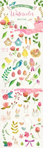 The Happy Easter Mega Pack - Creativemarket 197782