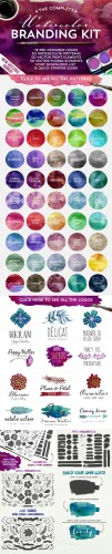 The Watercolor Branding Kit - Creativemarket 80585