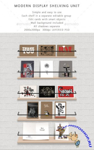 Shelf Unit Modern Display Shelving for Cards - Graphicriver 10475145