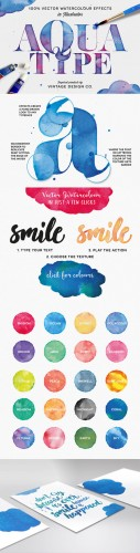 AquaType - Vector Watercolor Effects - Creativemarket 222700