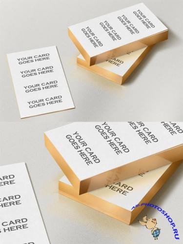 Gold Edge Photorealistic Business Card Mock-Up