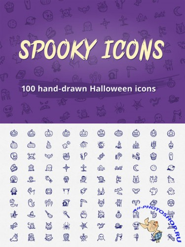 Spooky Icons: 100 Halloween icons - Creativemarket 87881