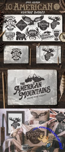 American Vintage Badges Part 4 - Creativemarket 58511