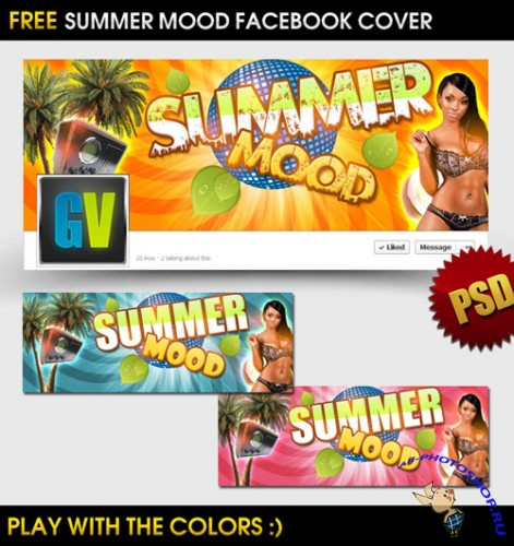 Summer Mood Facebook Cover - PSD Mock-Up Template
