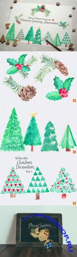 Watercolor Xmas Greenery Clip Arts - Creativemarket 76771