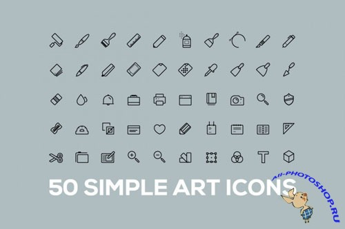 50 Simple Outline Art Vector Icons