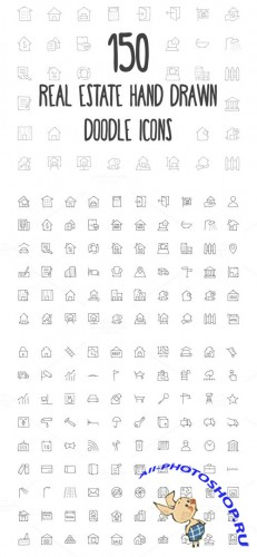 Real Estate Hand Drawn Doodle Icons - Creativemarket 160806