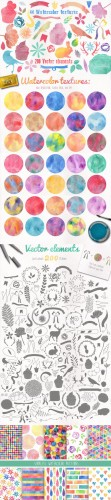 Watercolor pack + BONUS - Creativemarket 105680