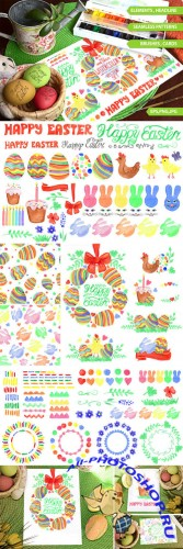 Easter Watercolor big set.Vector - Creativemarket 222731