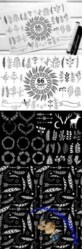 66 Hand Sketched Elements for Design - Creativemarket 158110