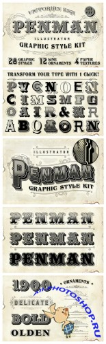 Penman Vintage Graphic Style Kit - Creativemarket 109144