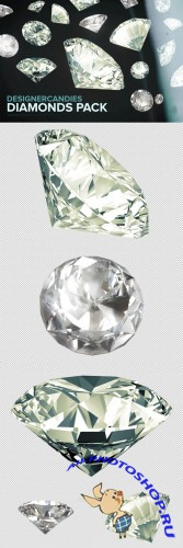 3D Diamond PNG Renders